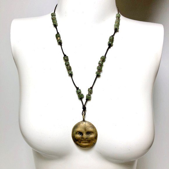 Unsigned Jewelry - Modernist Brass Lunar Moon Face Pendant Necklace